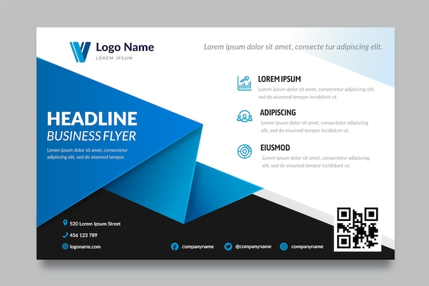 Business flyer template with shapes