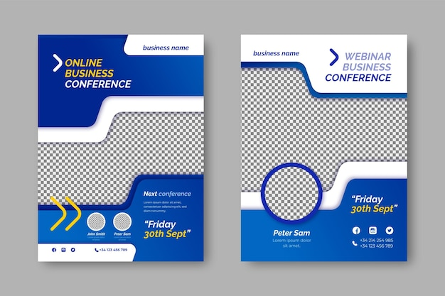 Business flyer template with transparent space for photo