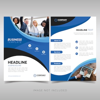 Business flyer template with wavy blue shapes