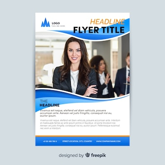 Business flyer template with young worker