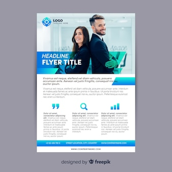 Business flyer template with young workers
