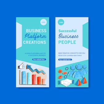 Business flyer templates in watercolor style