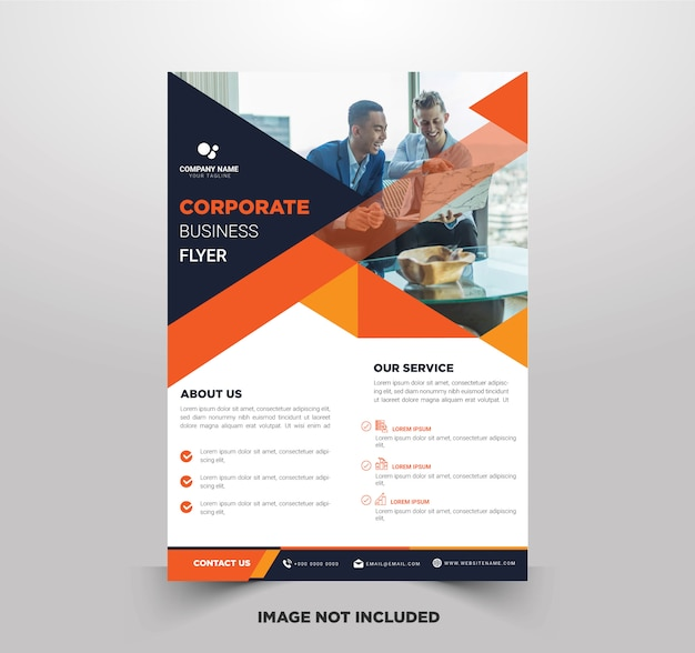 Business flyer templates with orange color combinations