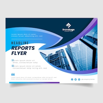 Business flyer with buildings photo