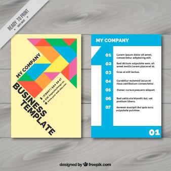 幾何学的な着色された矢印の付いたビジネスチラシ