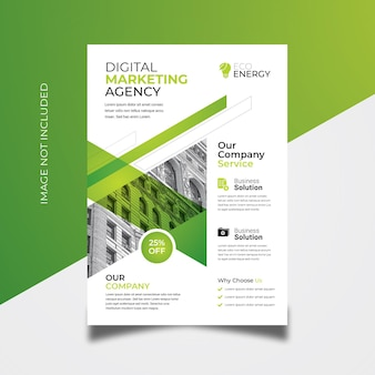 Business flyer with green accent