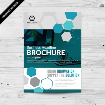 Business flyer with hexagones