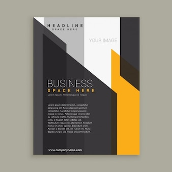 Business flyer with modern shapes in grey and yellow colors