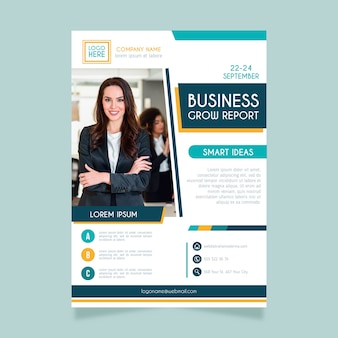 Business flyer with photo abstract style
