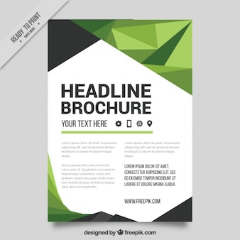 Business flyer with polygons in green tones