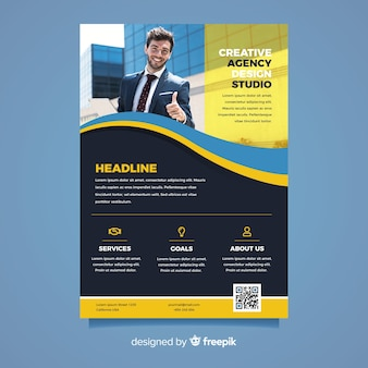 Business flyer with successful man