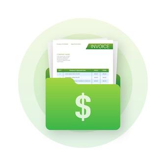 請求書のあるビジネスフォルダ。カスタマーサービスのコンセプト。オンライン支払い。納税。請求書テンプレート