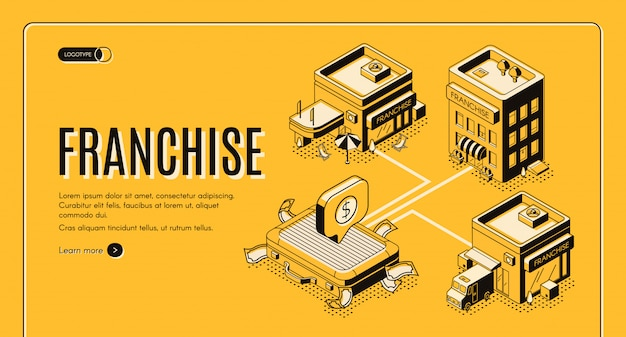 Business franchise isometric vector web banner, landing page.