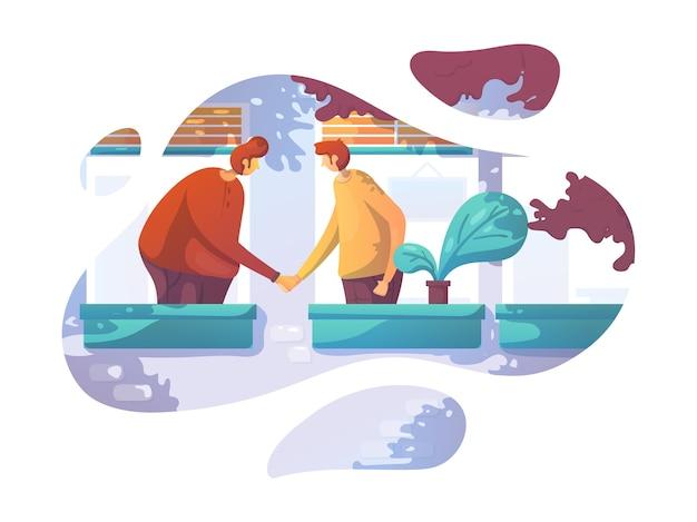 Business friendship flat design vector illustration