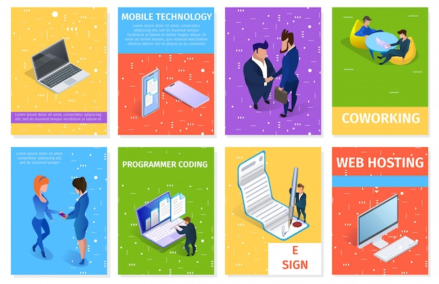 Business and gadgets banners set with copy space