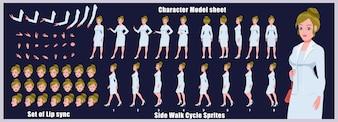 ビジネスサイクル少女サイクルモデルとリップシンクのキャラクターモデルシート