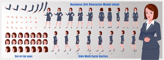 Business girl character model sheet with walk cycle animations and lip syncing