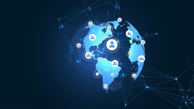 Подключение к глобальной сети бизнеса. точка карты мира и концепция состава линии глобального бизнеса. глобальные интернет-технологии. визуализация больших данных. векторная иллюстрация.