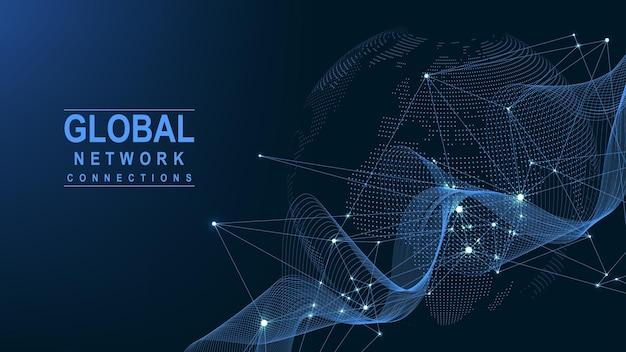 비즈니스 글로벌 네트워크 연결입니다. 글로벌 비즈니스의 세계 지도 포인트 및 라인 구성 개념. 글로벌 인터넷 기술. 빅 데이터 시각화. 벡터 일러스트 레이 션.