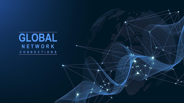 Business global network connection. world map point and line composition concept of global business. global internet technology. big data visualization. vector illustration.
