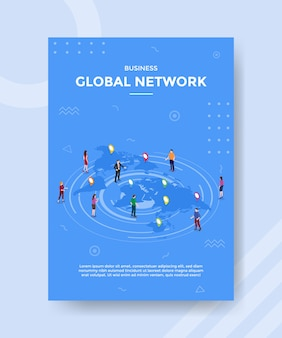 Business global network people standing n map world for template of banner and flyer