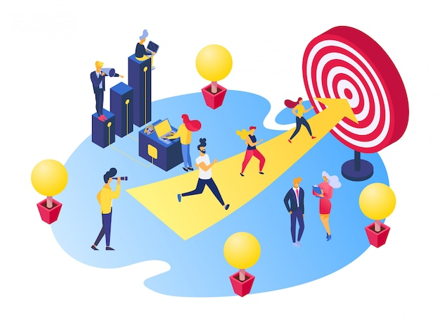 Business goal achievement , cartoon tiny characters achieve career goals, run to success target on white