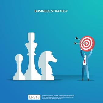 計画および管理財務のビジネス目標の達成、ビジョン、および計画の概念。チェスの駒とダーツボードのターゲットのイラストで成功した投資収益利益戦略管理