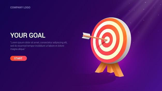 Business goal, dart hitting the target