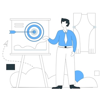 Business goal plan illustration flat line