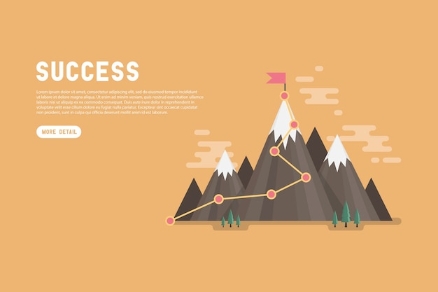 Business goal success flag on the top of snow mountain.