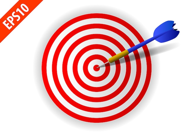 Business goal winner in target concept: blue dart arrow in center of dartboard game