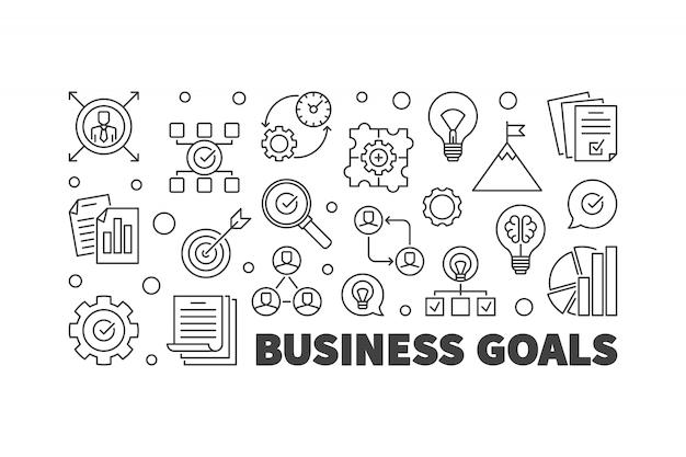 ビジネス目標のバナー。ベクターアウトライン図