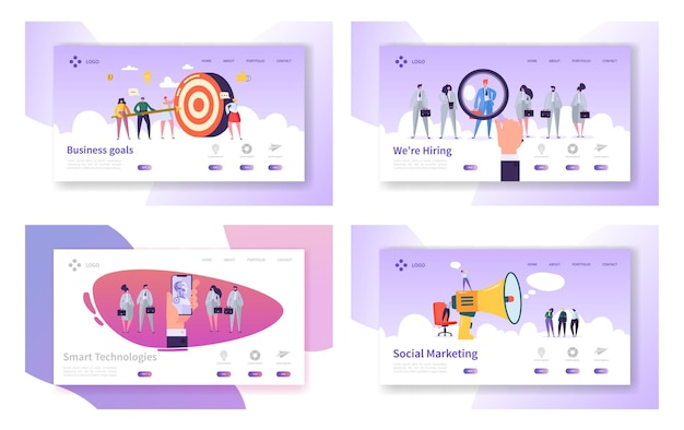 비즈니스 목표, 스마트 기술, 고용, 소셜 마케팅 웹 사이트 방문 페이지 템플릿 세트.