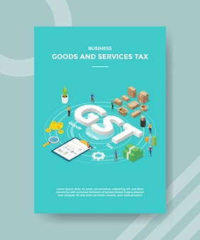 Business goods and services tax people around gst text chard board box packed money for template of banner and flyer