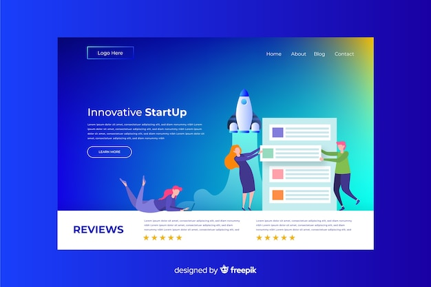 Business gradient startup landing page
