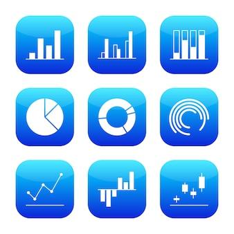 ビジネスグラフと図のモダンな未来的なアイコン