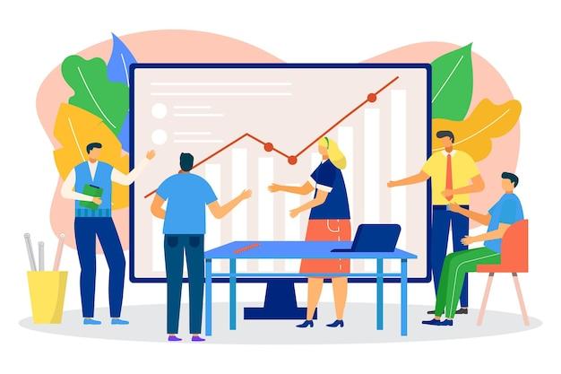 会議でのビジネスグラフ、ベクトル図。オフィスでのフラットな男性女性キャラクターのチームワーク、チームの人々はチャート、プレゼンテーションで作業します。グループ戦略、ディスカッション、会議でのコミュニケーション。