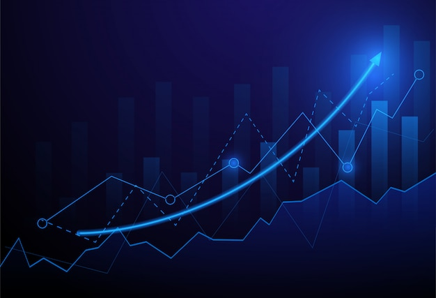 Business graph chart investment trading on blue background.