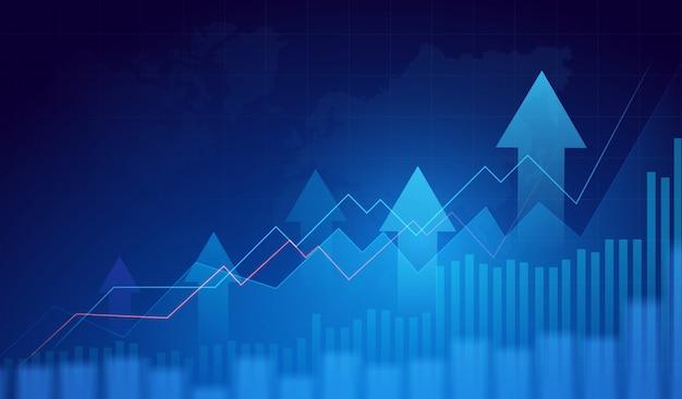 Бизнес граф диаграмма фондового рынка торговли на синем фоне. бычья точка, тренд графика. фон