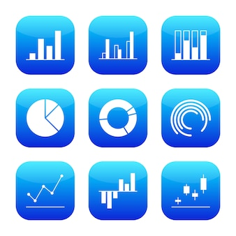 Business graph and diagram modern futuristic icon