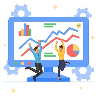 ビジネスグラフレポート成長、イラスト。男性女性の人々のキャラクターは、画面、財務グラフでデータ分析を持っています。