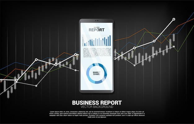 Business graph report in mobile phone with chart background.