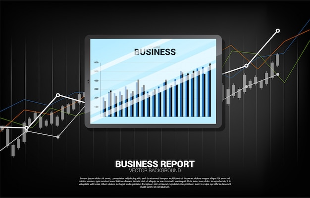 Business graph report in tablet with chart background.