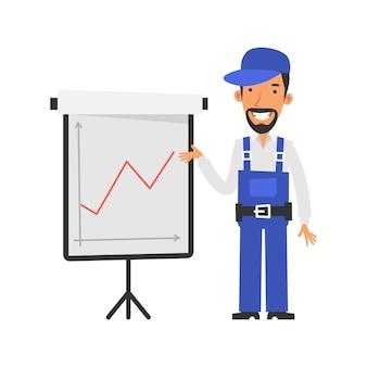 긍정적인 표시기가 있는 비즈니스 그래프 수리공은 플립차트와 미소 벡터 문자를 가리킵니다.