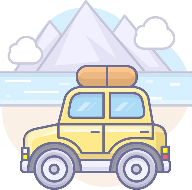 Business graphics with car and mountain