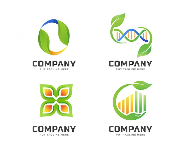 Business green nature, spa logo template set