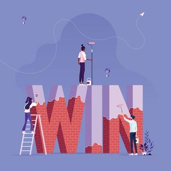 Бизнес-группа строит и рисует слово победа