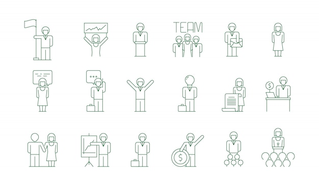 Business group icon. office work people team meeting freelancer socializing colleague communications vector thin symbols isolated