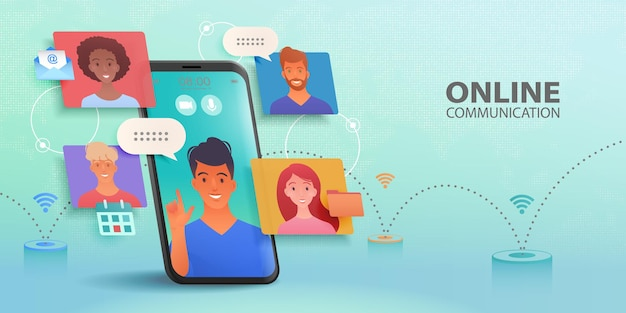 Business group meeting video call of people communicating via smartphone app  vector banner