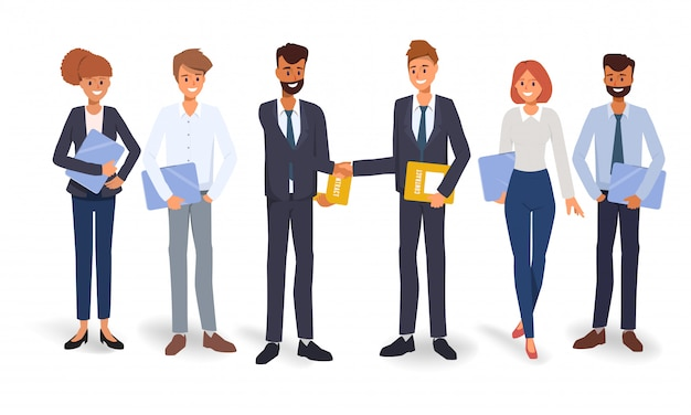 Business group people teamwork concept background. illustration vector flat design.